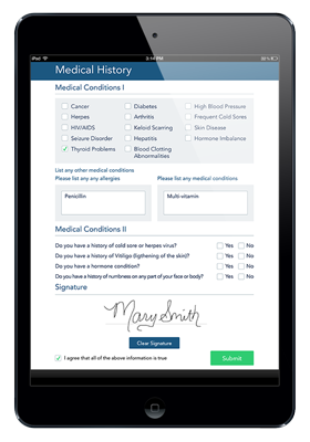 Photo of Medical History Form on IPad